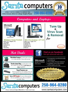 monthly computer sales flyer from sarita computers
